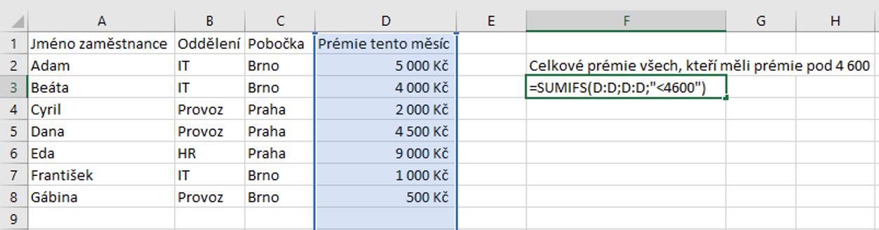 sumifs číselné kritérium