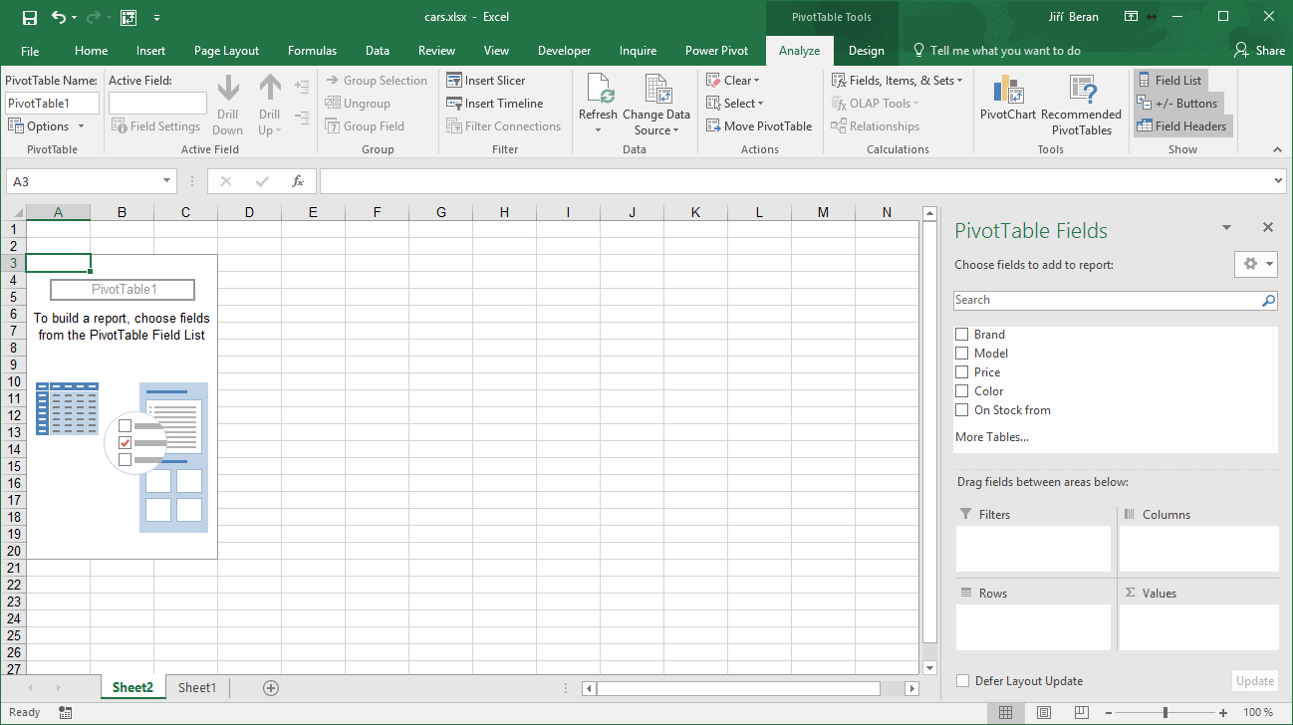 Pivot tables quick start exceltown training consultancy lets check the right pane with there is a list of column headers from original data and four empty rectangles bellow them the pivot table is created baditri Choice Image
