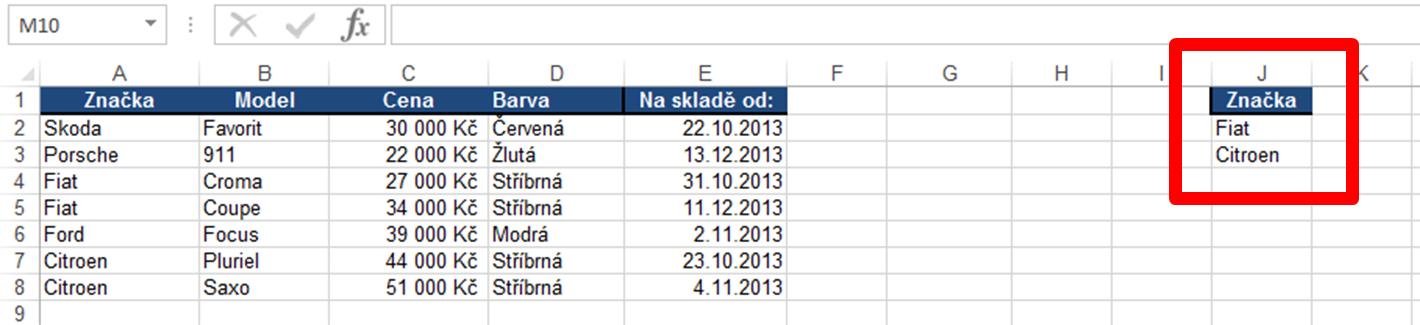 2 kriteriální tabulka
