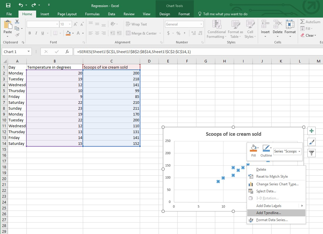 how to get linear regression equation in excel