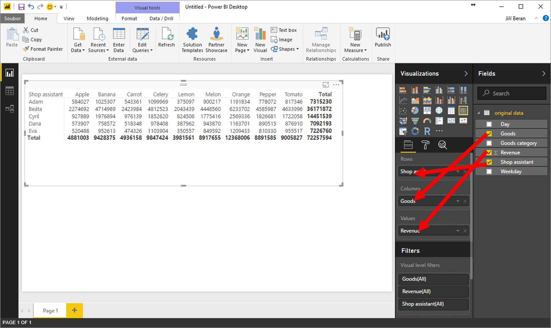 Pivot tables in power bi exceltown training consultancy add the items to rows columns and values the same way you do it in excel baditri Choice Image