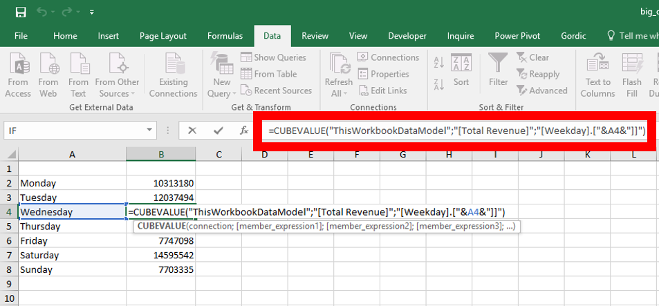 CUBEVALUE – get directly values from Power Pivot data model
