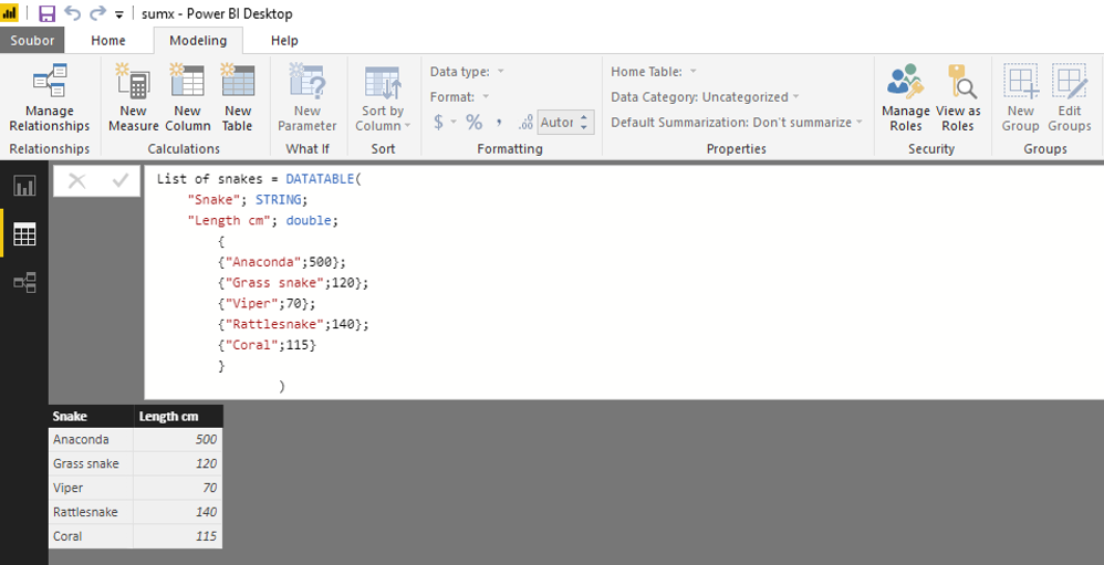 DATATABLE – create your data directly in Data Model with no