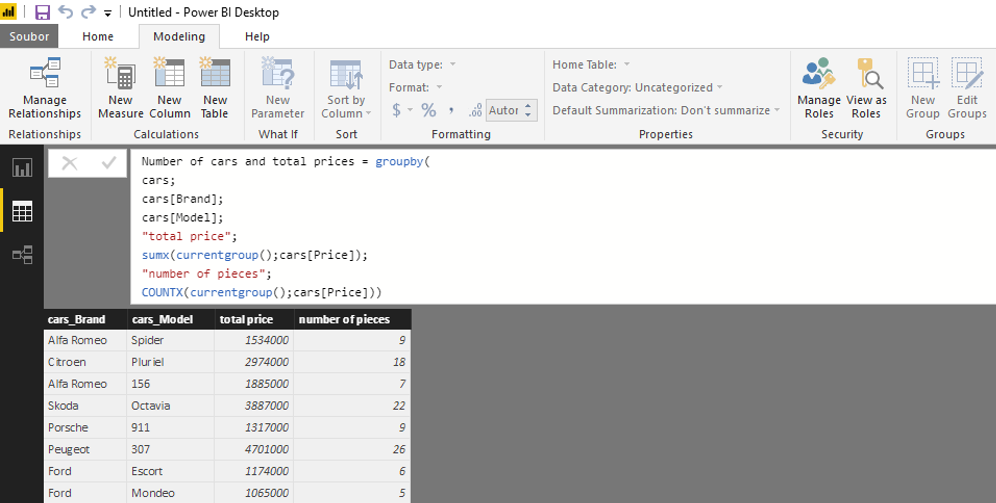 GROUPBY – aggregations in data model using DAX (DAX – Power